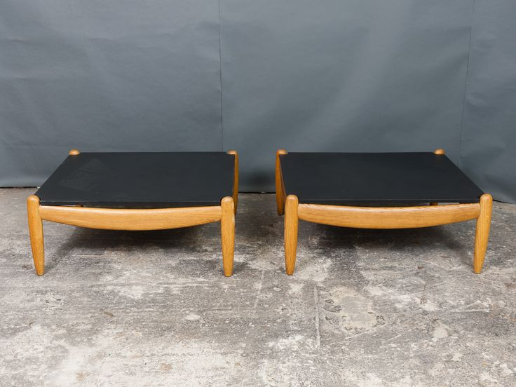 A Pair of Vintage German Oak and Slate Coffee Tables by Straub 1960s