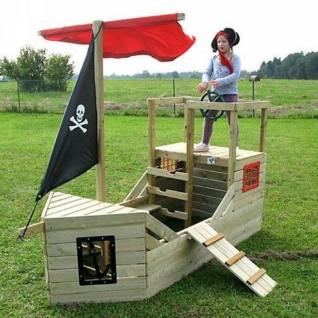 Pallets are the easiest available stuff that can be used to build cheap but creative things. You can surely build a big enough fancy pirate ship playhouse that can be used as a podium to stand or play. Make the sails and hang the pirate flag to give a perfect look.