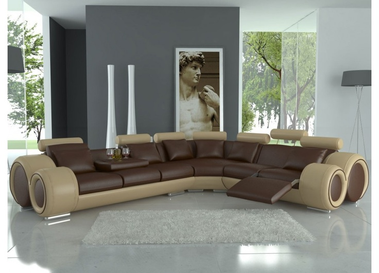 Two Toned Sectional Sofa With Adjustable Headrest Cute