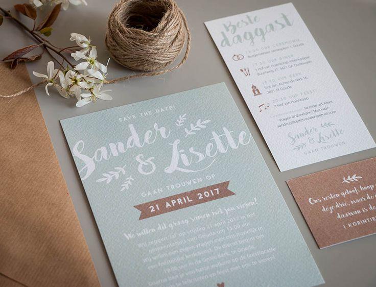 Trouwkaart Sander & Lisette - Ontwerp Marjolein Vormgeving #trouwkaart #ontwerp #opmaat #trouwkaarten #persoonlijk #kaarten #trouwen #mint #mintgroen #kraft #kaartjes #kaart