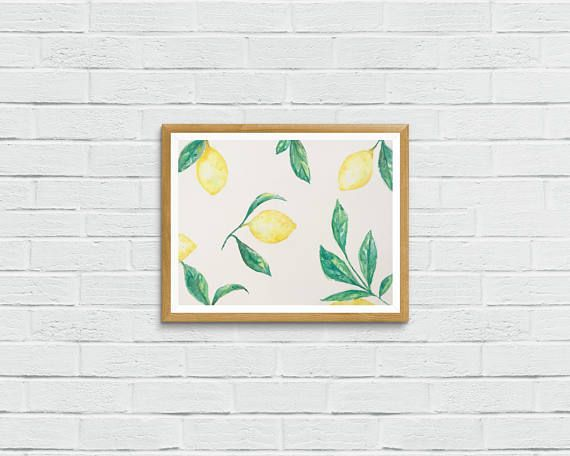 Lemons Watercolor Art Print Instant Digital Download