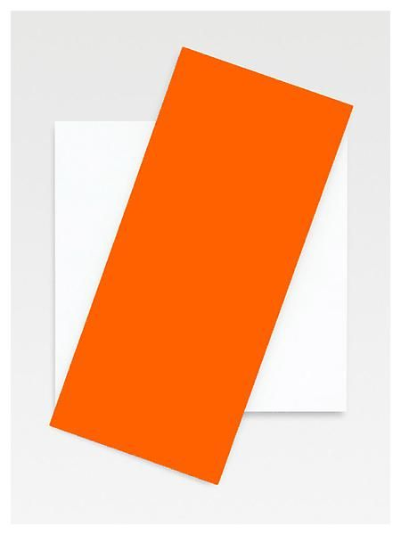"""Ellsworth Kelly; """"Orange Diagonal""""  2008  Oil on canvas, two joined panels; courtesy of Matthew Marks Gallery"""