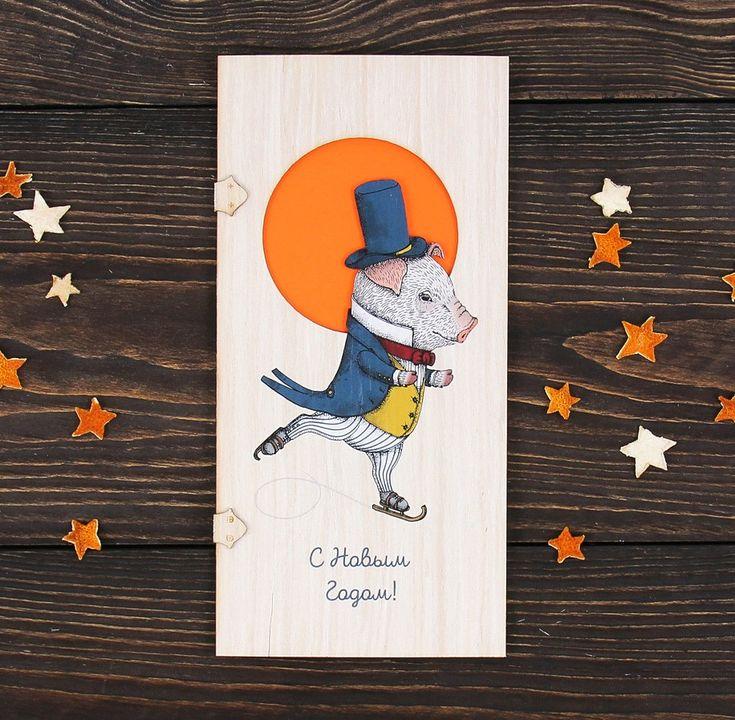 Новогодние открытки из фанеры с дорисовкой