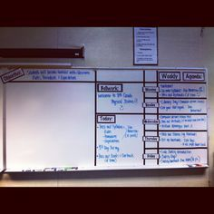 Classroom: My whiteboard organization! I used black electric tape to grid my white board. I printed signs for Monday-Friday, weekly agenda, bellwork, today and objective on my computer, glued it to black paper and laminated them! Then taped them up! This helps to keep me and my students organized! :)