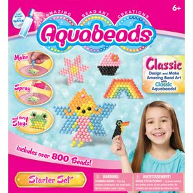 The Aquabeads Starter Set is designed not just for the beginner, but also for all who love creating amazing bead art. With the Starter Set, you can watch your creations take shape. Included are templates to make Froggy, the Aquabeads mascot, a pink fairy with blue wings and wise owl. Flip the templates over and design your own. Comes with over 800 beads and everything you need for hours of fun!