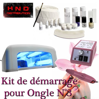 KIT MANUCURE N°3 GEL UV MONOPHASE PONCEUSE LAMPE ONGLES COTON CELLULOSE CLEANER