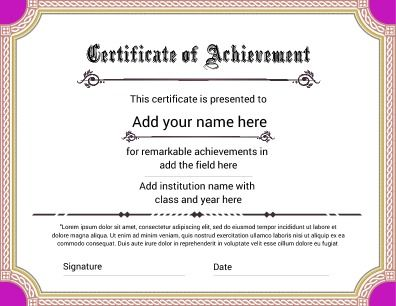 Certificate of Achievement, featuring a bright look for that fun achievement. Try this Free Template now using the PageProdigy Cloud Designer: www.pageprodigy.com/free-certificate-templates