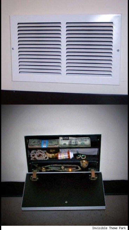 Hidden keep safe spot behind a vent