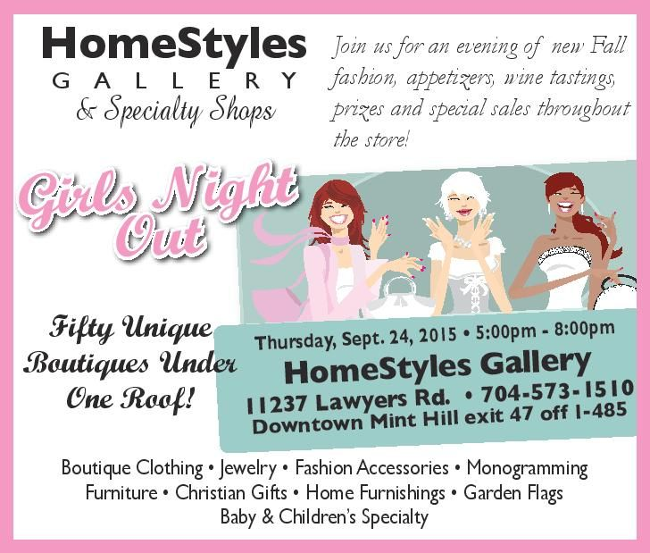 Join us for a Girls Night Out on Thursday September 24th! We'll have fabulous food, prizes and specials from our 50 unique boutiques! Bring a friend!  #minthill #minthillshopping #minthillboutique #minthillfurniture #minthillthingstodo #homestyles #homestylesgallery #minthillbaby #minthillgift #minthilljewelry #charlottethingstodo #matthewsthingstodo #girlsnightout