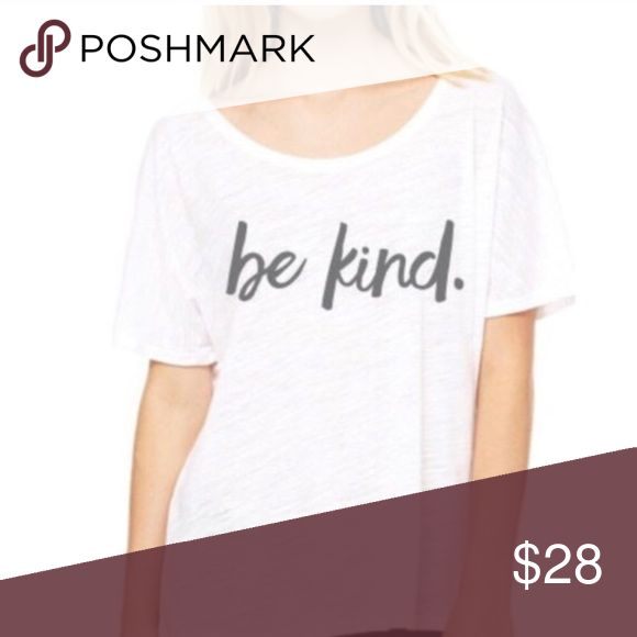 Be Kind Slouchy Tee TAGS: White Top, Off the Shoulder, Lounge Tops Tees - Short Sleeve