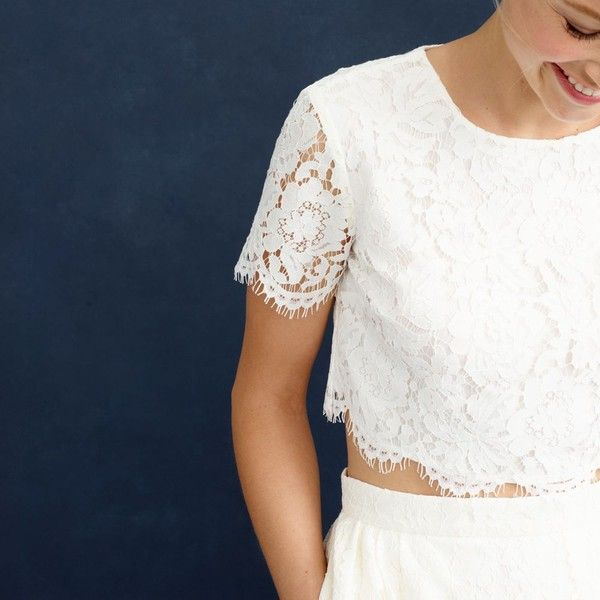 J crew collection floral lace crop top 265 liked on for J crew daphne wedding dress