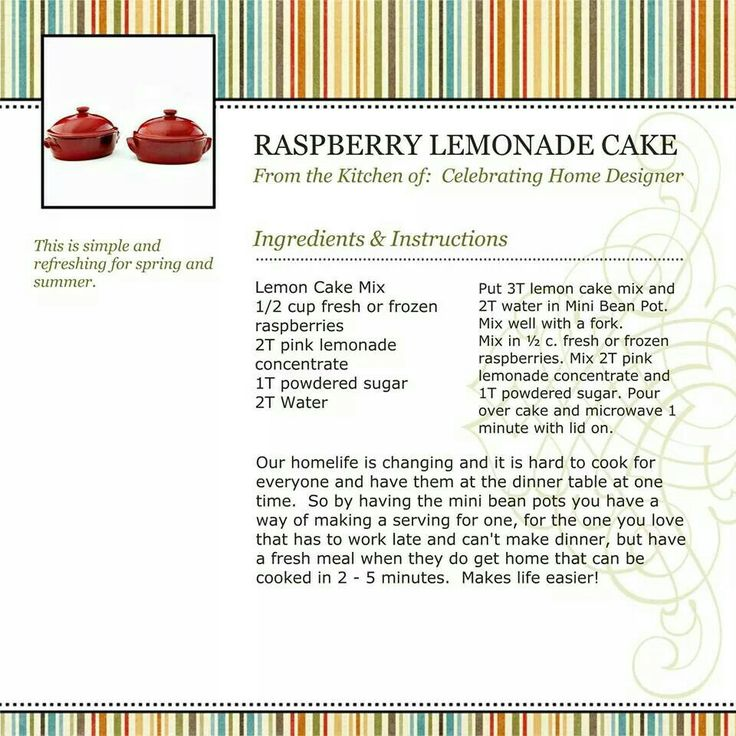 Raspberry Lemonade Cake (using Bean Pot From Celebrating Home)