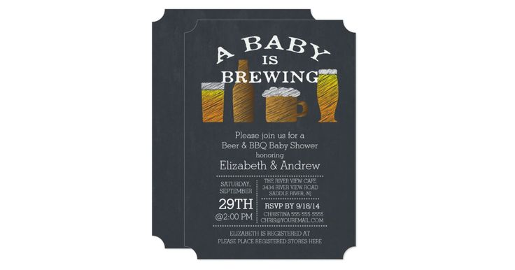 Modern chalkboard a baby is brewing barbecue baby shower invitation featuring a beer bottle and beer mugs set on a black chalkboard background. Trendy invitation for a boys baby shower, girls baby shower or gender neutral baby shower. Flip our beer & bbq invite over to find a matching popular chalkboard background for an extra special touch.