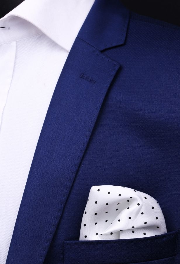 Siyah - Beyaz Kravat Mendili KM0215 - White Pocket Square