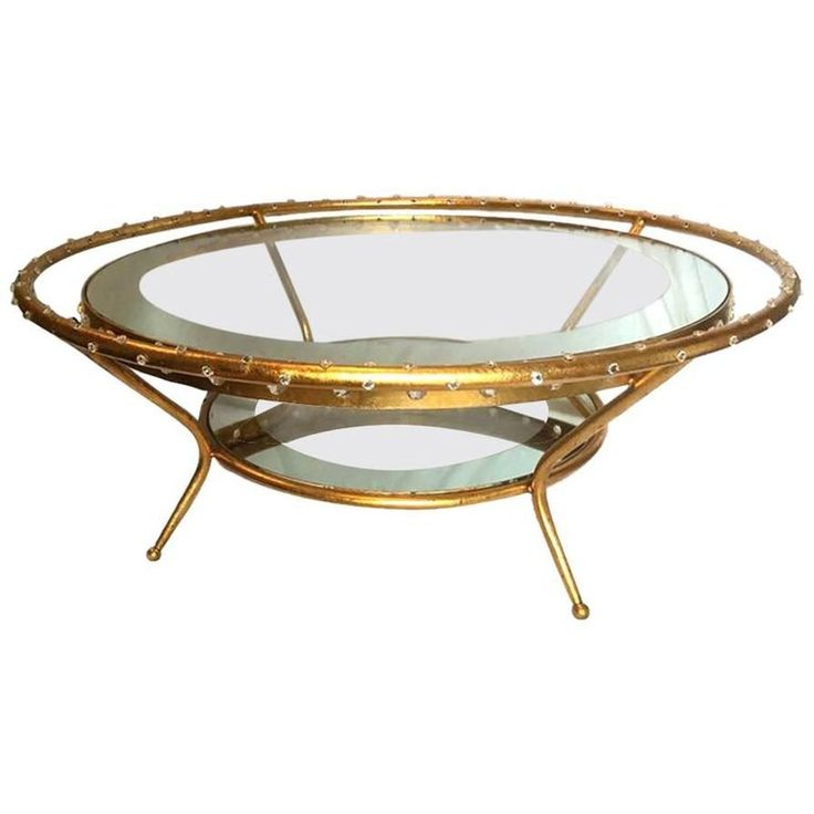 Gilt Metal Coffee Table with Crystal Insets | From a unique collection of antique and modern coffee and cocktail tables at https://www.1stdibs.com/furniture/tables/coffee-tables-cocktail-tables/