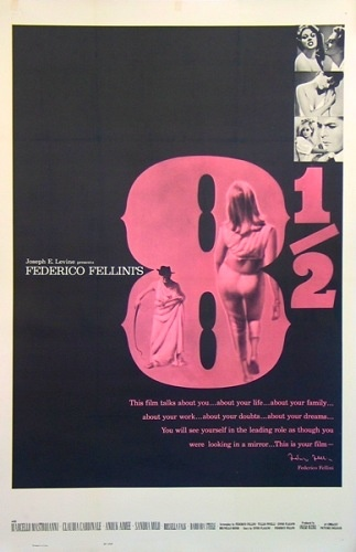 Excellent poster.  Lovely movie to have on for aesthetic value at a party.  Excellent to delve into as well.  Great on many levels.  (8 1/2, 1963).