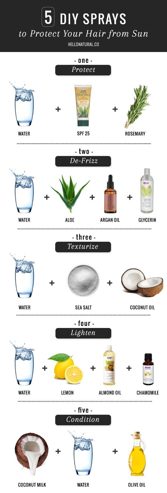 5 DIY Ways To Protect Your Hair from Sun, Heat   Humidity | http://hellonatural.co/how-to-protect-your-hair-from-sun-heat-humidity-with-diy-sprays/: