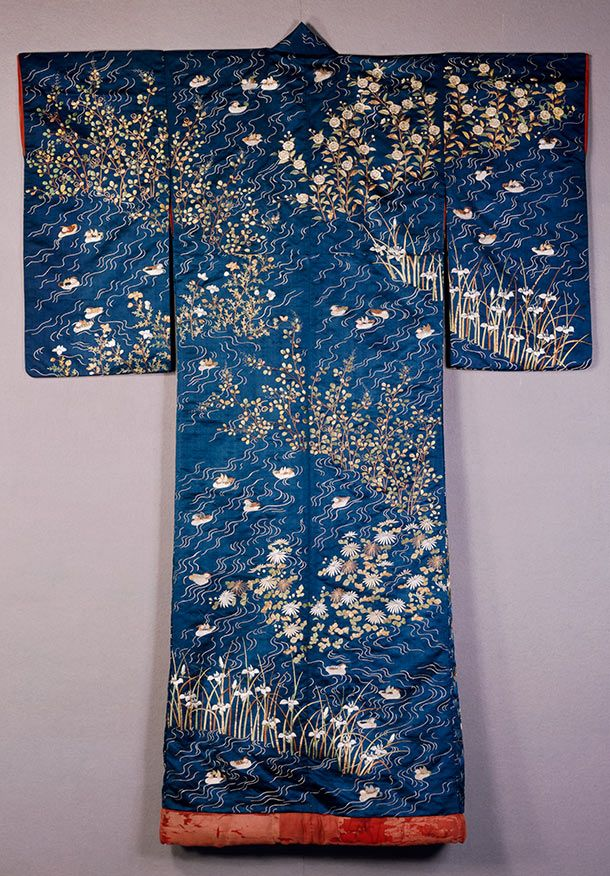 Kimono, Japan, 1820-60, satin silk known as shu, embroidered in silk & metallic thread with decoration of ducks on rippling water amongst irises and pinks.