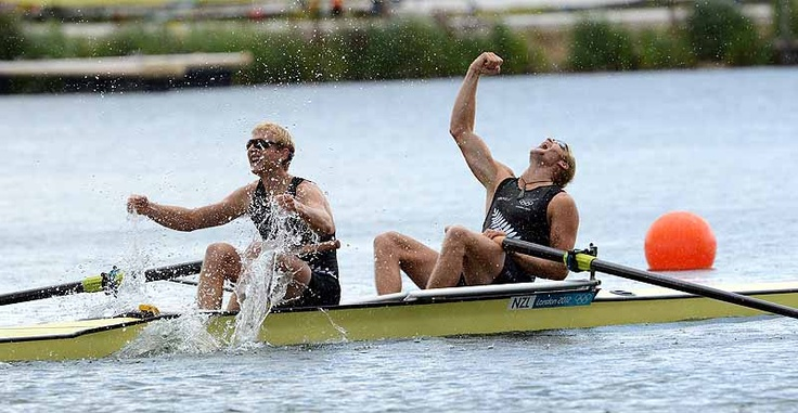 Photo caption time! What would you say about this shot of The Kiwi Pair (Eric Murray and Hamish Bond) of New Zealand celebrate winning gold in the men's pair Final A at the 2012 Olympic Rowing Regatta at Eton-Dorney near London, Great Britain. ©FISA