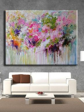 ( Thank you for looking! ! Check out my store for more Original Paintings here: http://www.etsy.com/shop/mimigojjang?ref=si_shop ****************************************************************************** Artwork description Custom order. acrylic abstract painting on gallery wrapped canvas with back staples. -TITLE:Flower -SIZE:48x36 inch -MEDIUM: ....Professional grade acrylics on 100% cotton canvas over wooden stretcher bars. -SIDES ARE PAINTED -Signed and dated ON FRONT OR BACK O...