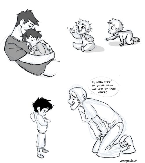 AwwWWWWW! IT'S FRED AND BABY HIRO AND TADASHI. <3 <3 <3 (art credit to uponagraydawn)
