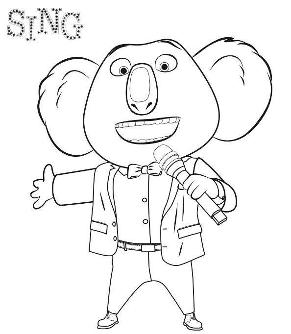 Dibujos para colorear de la pelicula Canta o sing. Pinta a Buster, Johnny el gorila, Slack el caracol, toda la familia de canta.
