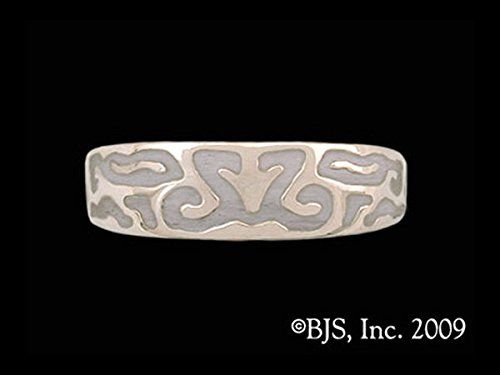 Lady's Elven Element of Spirit Band Ring with Pewter Enamel in Sterling Silver. This item comes stamped with a 925 silver quality seal of authenticity and is packaged in a unique jewelry box. This Premium Design may come in the following options: necklace, earrings, pins and rings - see separate listings for each. This item may come in multiple metal options, Sterling Silver, Gold, Bronze, or other, see separate listings for each. This item is shown with a Black Jewelers Antique Finishing...