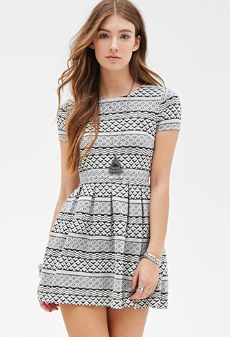 Geo Striped Skater Dress | FOREVER21 - 2000116951