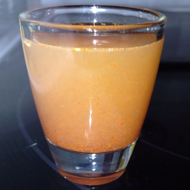 "HCG Diet - ""Cali Kicker"" metabolism booster (1/2 packet Stevia, 1/8 tsp cayenne pepper, dash of cinnamon, juice of half a lemon, 1 TBSP apple cider vinegar, 1 TBSP water).  Put in a shot glass and follow with a full glass of water.  Warning:  it burns!"