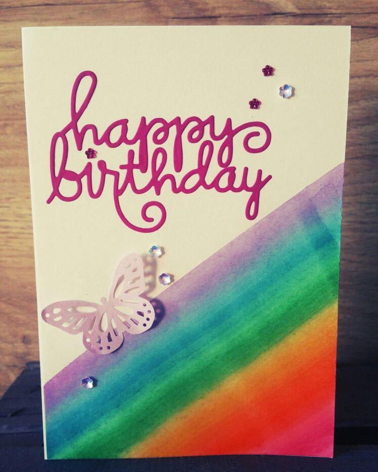 Birthday card with rainbow