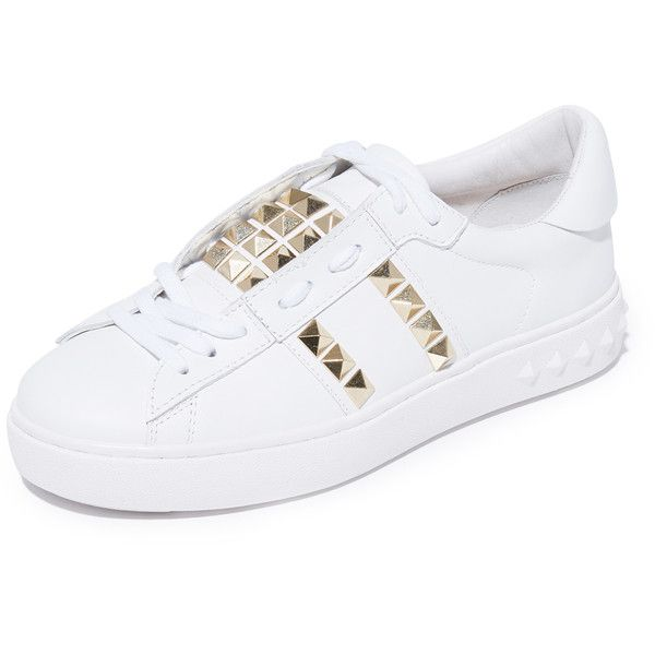 Ash Party Studded Sneakers (4 870 UAH) ❤ liked on Polyvore featuring shoes, sneakers, white, white platform sneakers, lace up sneakers, studded sneakers, white shoes and leather shoes