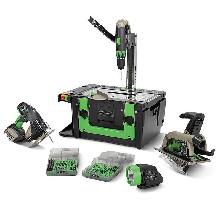 This portable power tool kit includes several 18-volt rechargeable tools, and provides a metal working platform that converts to a table saw, scroll saw or a drill press. It might not be ideal for big jobs, but it's perfect for DIY projects.