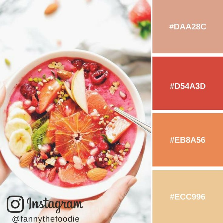 Colour Mood Board inspired by Raspberry Smoothie Bowl by Fanny The Foodie.  For PHOTO CREDITS and HEX COLOURS go to: http://www.administrie.com/blogger-fanny-the-foodie