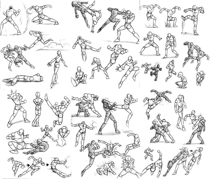 simplified Human figure drawing kicking a football | Stick Figure Action Pose Reference