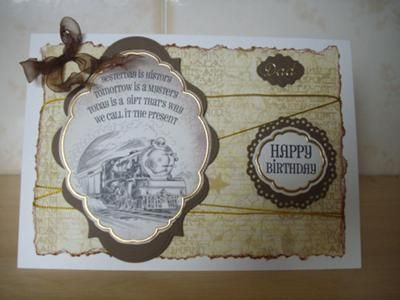 Train card: I was asked to make a card for a friends dad.   I used an A4 card folded in half and used a decoupage design which I bought from my local card shop.  Using