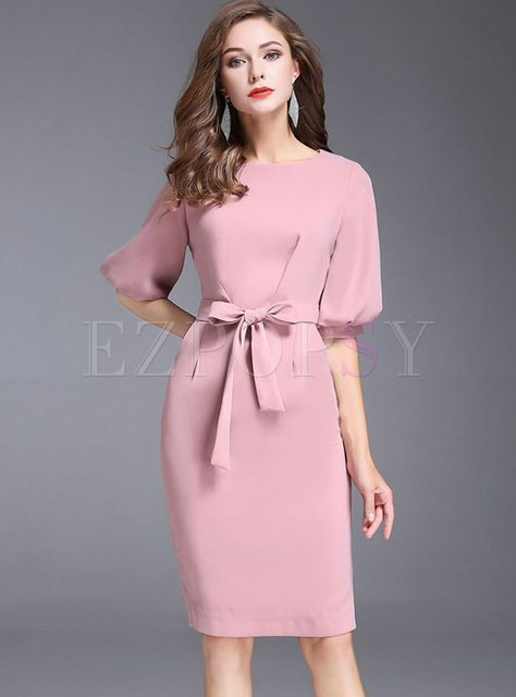 43a33867901 Stylish Gathered Waist Belt Half Sleeve Bodycon Dress in 2019 ...