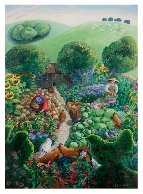 Chickens in the Garden by Jenny Beck