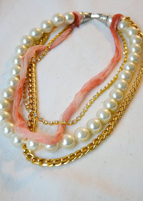 SOLD One of a Kind, multi layered necklace with large pearls, gold plated chain, gold plated rhinestones and silk chiffon ribbon lace in coral