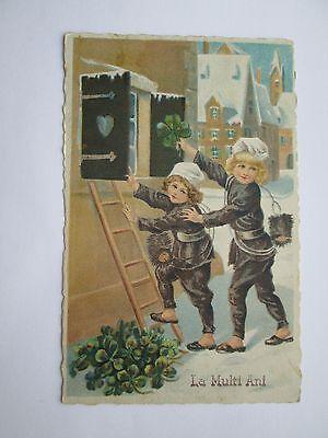 Romania-Greetind-card-La-multi-ani-Happy-New-Year-chimney-sweep