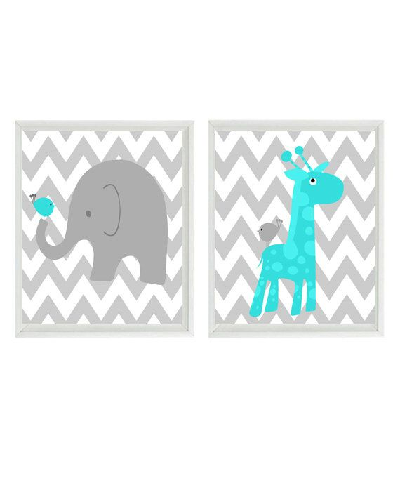 Nursery Art Gray Aqua Nursery Baby Boy Nursery Art Boy Wall Art