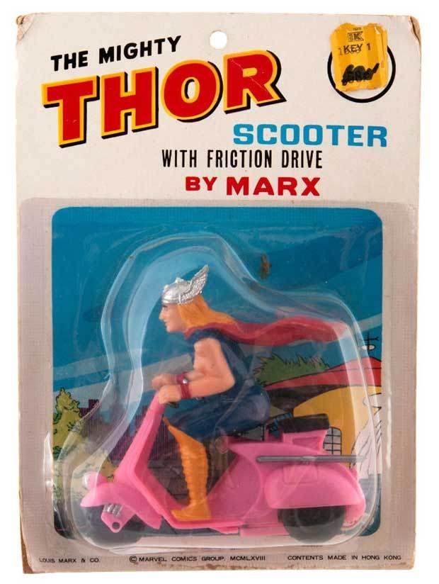 Behold the Mighty Thor on his Pink Scooter!