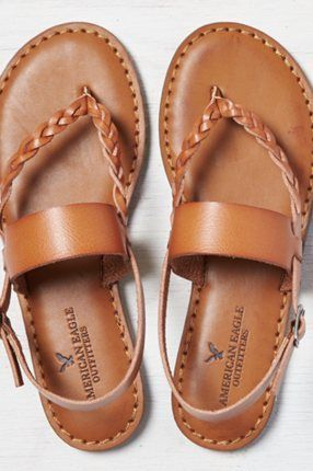 AEO Studded Flip Flop, Cognac | American Eagle Outfitters