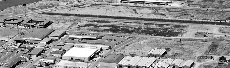 A 1961 aerial view looking northeast showed the remains of the San Francisco Bay Airport a year after its closure