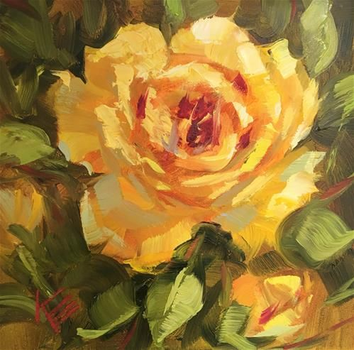 """Daily Paintworks - """"Yellow Rose"""" - Original Fine Art for Sale - © Krista Eaton"""
