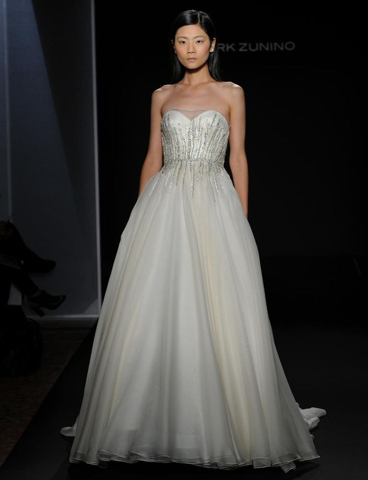 Mark Zunino Fall 2016 off-white silk organza ball gown with jeweled waistband   https://www.theknot.com/content/mark-zunino-wedding-dresses-bridal-fashion-week-fall-2016