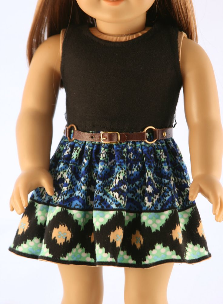 American Girl Doll Clothes - Knit Tribal Print Dress, Faux Leather Purse, and Leather Belt. $39.99, via Etsy.
