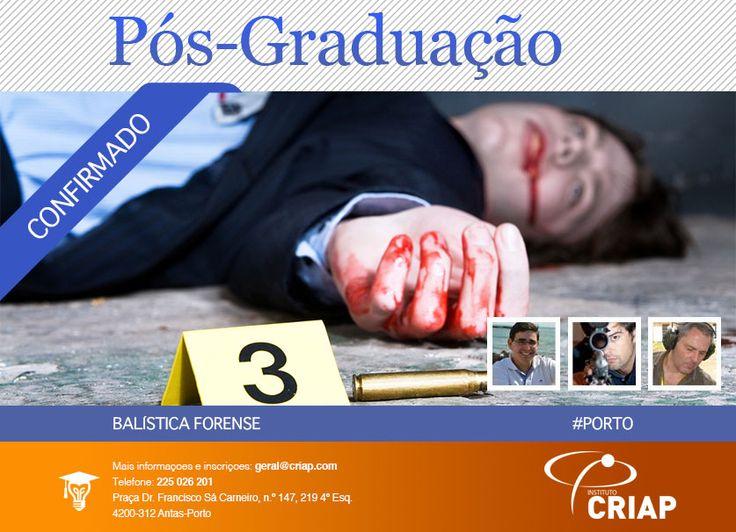 **ÚLTIMAS VAGAS**  Pós-Graduação em Balística Forense  http://www.institutocriap.com/ensino/posgraduacoes/porto/1119-formacao-criminologia-pos-graduacao-em-balistica-forense-1o-edicao