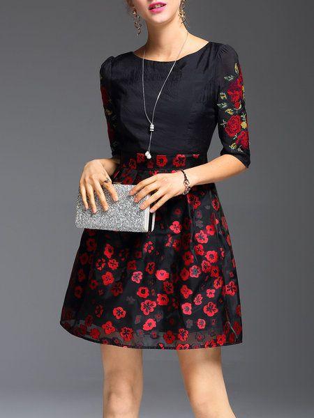 Jacquard 3/4 Sleeve Floral Elegant Mini Dress