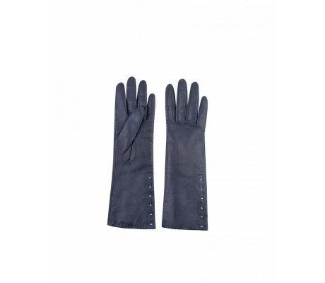 L2017 Ciemnoniebieskie rękawiczki skórzane