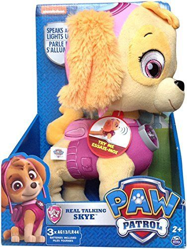 Real Talking Skye is made from soft plush materials and is full of sounds and phrases from Paw Patrol! Give Skye's belly a squeeze to hear her speak and watch her badge light up!! Real Talking Skye is made for Paw Patrol fans ages 2+ and includes batteries for operation